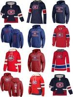 mes xl eishockey-tops großhandel-Heißer Verkauf Benutzerdefinierte Mens Womens Kids Montreal Canadiens Günstige Top Qualität Stickerei Logos Red Navy Eishockey Hoodies mit