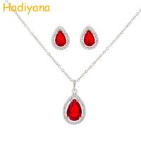 collier jade bleu doré achat en gros de-vente en gros bijoux en or et en argent 2pcs ensemble rouge bleu top zircon cubique dames meilleur cadeau boucles d'oreilles pendentif collier définit CN878