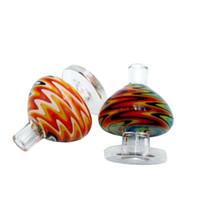 Wholesale fancy nails for sale - Group buy US Color Swirl Carb Cap mm Glass Bubble Carb Cap Fancy Ball Carb Cap For Quartz Banger Nail Glass Water Pipe Bongs