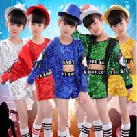 trajes da mostra da dança dos miúdos venda por atacado-3 pcs Meninas Hip Hop Salão de baile Jazz Modern Dance Costumes Lantejoulas Tops + Calças + Casaco Crianças Partido Show de Roupas Crianças Rua dança