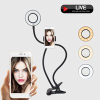 Wholesale led desk lamp adjustable light for sale - Group buy in Phone Holder with LED Selfie Ring Light for Live Stream Phone Clip Holder Adjustable Desk Lamp Makeup Light
