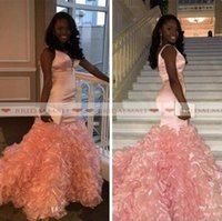 Wholesale peach mermaid dress ruffles resale online - V Neck Peach Pink Tulle Mermaid African Long Prom Dresses New Cascading Ruffles Black Girl Formal Party Gowns Zipper Back Evening Dress