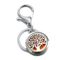 Wholesale Tree of Life Essential Oil Diffuser Key Rings Leaf Stainless Steel Magnetic Locket Round Perfume Keychain