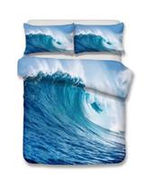 3d bedding set toptan satış-Deniz Dalga Desen 3D Gerçekçi Yatak Seti Baskı Nevresim Doona Kapak Seti Çarşaf Ev Tekstili