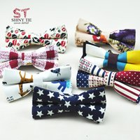Wholesale butterfly mens tie resale online - New arrived Fashion Linen Cotton Bow Ties Flower Adjustable Handmade Mens Patchwork Floral Star Nuts Butterfly Bowknot