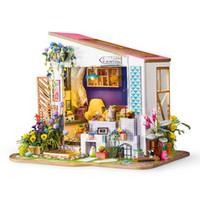 niños de la casa de madera al por mayor-Interesante decoración para el hogar estatuilla diy lirio de porche de madera en miniatura casa de muñecas modelo moderno decoración de casa de muñecas regalo para los niños