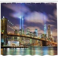 cortina de chuveiro de torre venda por atacado-Conjunto de cortina de chuveiro de decoração de apartamento, Manhattan Skyline com Brooklyn Bridge e as torres de luzes na cidade de Nova York, acessórios do banheiro