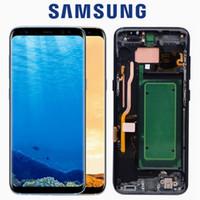 ingrosso telaio dello schermo i545-LCD ORIGINALE con cornice per SAMSUNG Galaxy S8 Display S8 Plus G950 G950F G955 G955F Gruppo digitalizzatore touch screen