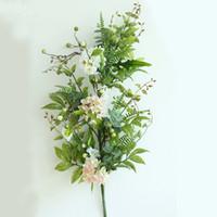 ingrosso fiore di salotto di plastica-Decorazione del salone fiore fiore artificiale parete verde foglia canna plastica fiore vite artificiale spedizione gratuita caldo