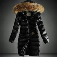 peles acolchoadas venda por atacado-Estação Europeia Inverno New Grande gola de pele das mulheres encapuçados jaqueta de algodão casaco acolchoado moda Long Down Cotton Brasão Preto S-3XL