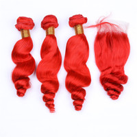 Wholesale baby curly hair weft for sale - Group buy Loose Wave Hair Bundles and Red Closure x4 With Baby Hair Pure red Loose Curly Closure Pieces With Hair Weft