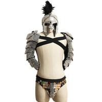 sexy römischen cosplay großhandel-Roman Samurai Spiegel Bühnenkostüm Sets DJ Party Rave Cosplay Leistung Kleidung Bar sexy Mann Laufsteg Show Gogo Kostüm Rüstung