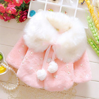 Wholesale wool clothes for babies for sale - Group buy 2019 Faux Fur Coats for Baby Girls Autumn Winter Clothes Child Wool Outwear Girl Beadings Shawl Kids warm shoulders Kids Costume ST277