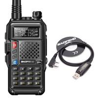 uhf walkie talkie longo venda por atacado-2019 BAOFENG BF-UVB3 PLUS Walkie Talkie 5 W de Alta Potência UHF / VHF Dual Band 10 KM de Longo Alcance Thickenbattery Walkie Talkie Modo de Carregamento Múltipla