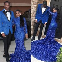 Wholesale long fishtail lace back dress for sale - Group buy 2020 Mermaid Black Girl Prom Party Dresses Long Sleeves High Neck D Floral royal blue high neck Sweep Train Lace fishtail Evening Gowns