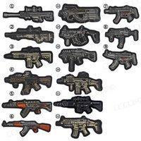 karikatur applikationen bestickt großhandel-3D Gun Form Stickerei Cartoon Militär Moral Patch Sniper Tactical Emblem Abzeichen Applikationen Kampf Gestickte Patches