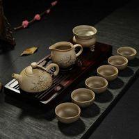 yixing juegos de tetera de arcilla al por mayor-Té de arcilla china Yixing juegos de té de cerámica gruesa Kung Fu Tea Quik Set