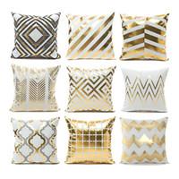 Cojines Sofa Chocolate.Bronzing Geometric Cushion Cover Decorative Cushions Home Decor Pillowcase Cover Cojines Throw Pillows Chair Almofadas Para Sofa
