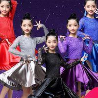 vêtements de danse de salon latin achat en gros de-2019 Nouvelle Danse Latine Robe Filles Ballroom Rumba Salsa Cha Cha Samba Compétition Dancewear Stage Perform Robes 5 Couleurs DWY1541