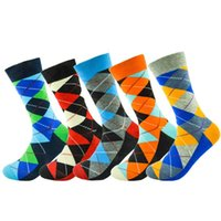 Wholesale causal wedding dresses for sale - Group buy 5 pairs Happy Men Dress Color Graphic Socks Comfortable Pair Roller Skateboard For Causal Reason Funny Wedding Socks Diamond Geometry