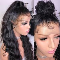 dantel peruk yapışkan saçlı saç toptan satış-Bebek Saç ile tam Dantel Peruk Vücut Dalga Tutkalsız Brezilyalı Saç Peruk Kadınlar için Siyah Ön Koparıp Remy Peruk