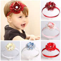 Wholesale hair children resale online - Lovely Newborn Baby Lace Ribbon Crown Headbands for Girl Kids Children Solid Flower Hair Band Party Birthday Gift
