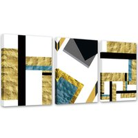 panneau d'art mural d'or achat en gros de-Art de la géométrie murale pour la décoration murale de la maison or combinaison colorée abstraite moderne peintures toile Art Print 3 panneaux