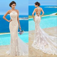 Wholesale mermaid wedding gowns kitty chen resale online - Custom Made Kitty Chen Wedding Dresses Lace Appliqued Halter Sleeveless Beach Sweep Train Mermaid Ball Gown For Bridal Gowns