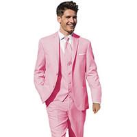 en çok satan bağlar toptan satış-Sıcak Satış Damat Smokin Pembe Groomsmen Notch Yaka Best Man Suit Düğün / Erkekler Damat Suits (Ceket + Pantolon + Yelek + Kravat) A361