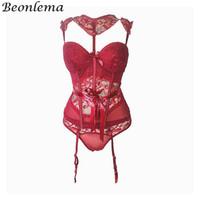 lingerie transparente vermelha venda por atacado-Beonlema ver através de red hot lingerie espartilho sutiã cinto sexy floral lace bustiers encantador tiras transparente underwear mulheres y19070201