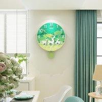 ingrosso orologi da orologio al quarzo-Orologio da parete MEISD 3D Creative Green Foresta animali Uccello Cervo rotonda di disegno moderno di vigilanza d'attaccatura del silenzioso oscillante al quarzo Orologi da parete