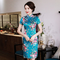 vestido corto de las mujeres chinas al por mayor-Cuello mandarín Lady Vestido clásico de estilo chino Vintage de manga corta Mujer Qipao Novedad Rayón Cheongsam Talla grande Vestidso