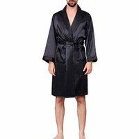 siyah ipek önlük toptan satış-Erkekler Siyah Salon Pijama Erkekler Için Faux Ipek Gecelikler Konfor ipeksi Bornoz Asil sabahlık erkek Uyku Elbiseler Artı boyutu