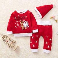 roupa de dormir de papai noel venda por atacado-meninos Papai Noel do Natal das crianças das crianças meninas Pijamas Tops + calça + chapéus Sets Outfits roupas terno novo ano