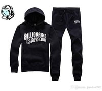 erkek çocuk takımları toptan satış-2018 yeni varış hip hop eşofman BILLIONAIRE BOYS CLUB erkek koşu takım elbise sonbahar kış sıcak kazak hoodie kalite BBC Üst + pantolon