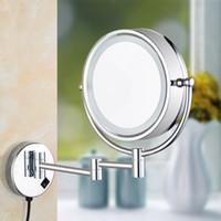 geführtes badezimmerspiegel großhandel-LED beleuchtete Vanity Makeup Mirror Folding Badezimmer Wandhalterung Kosmetikspiegel mit Licht Vergrößerungs Rasierspiegel Weihnachtsgeschenke
