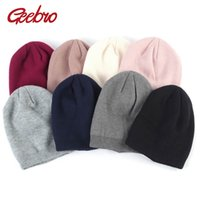 Wholesale cashmere hats for kids resale online - Geebro Baby Beanie Hat Autumn Wool Knitted Solid Slouchy Beanie for Girls and Boys Winter Cashmere Skullies Hats for Kids DQ851