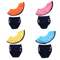 trajes de baño de color sólido para niños al por mayor-1-6T Moda para mujer hombro inclinado volante trajes de baño lindos niños de color sólido trajes de baño 2 piezas conjunto ropa de playa