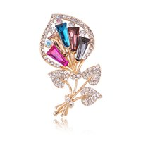 Wholesale decorative rhinestone brooch for sale - Group buy Brand High Quality Crystal Rhinestones Flower Fashion Brooch Pins for Women In Assorted Colors Jewelry Decorative Accessories