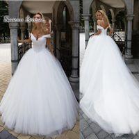 Wholesale size 14 summer wedding dress resale online - 2020 Modern White Plus Size Wedding Dresses Lace Appliques Bridal Ball Gown Bride Party Wear Beaded Off Shoulder