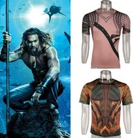 Wholesale superhero t shirts for sale - Group buy Movie Aquaman Arthur Curry Cosplay T shirts Orin Superhero Polyester O neck Sports Short Sleeve Tees Shirts Tops Clothing