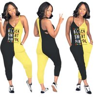 siyah rompers uzun pantolon toptan satış-Kadınlar siyah akıllı mektup tulum iki renkli dikiş spagetti kayışı kolsuz v yaka tayt seksi uzun tulum pantolon S-3XL 2019