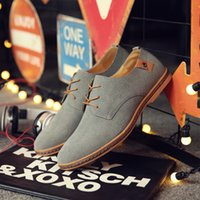 Wholesale asakuchi shoes resale online - Men S Casual Shoes Scrub Artificial Leather Solid Oxfords Shoes Man Lace Up Asakuchi Breathable Rubber Flat Heel Size