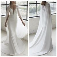 Wholesale plus size mermaid wedding dresses online - 2019 Sheer Lace Appliques Slim Mermaid Wedding Dresses With Wrap Formal Briadal Gowns Sweep Train Custom Plus Size Vestidos De Marriage