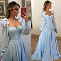 Wholesale chiffon prom dress sweetheart neckline resale online - Sky Blue Poet Long Sleeves Evening Gowns A Line Square Neckline Flower Chiffon Long Party Prom Gowns Women Mother of Bride Party Dresses