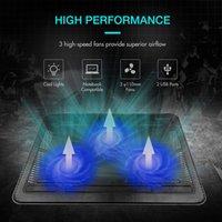soğutma bazlı dizüstü bilgisayar toptan satış-3 Hayranları Dizüstü Tabanı Standı Ile Işık Dizüstü Soğutma Pedi Ile Ince Profesyonel Ince Harici USB Powered Ayarlanabilir Taşınabilir Slayt Proof