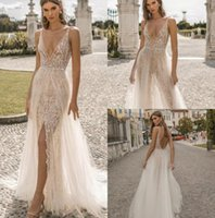 Wholesale new sexy chocolate tulle mermaid resale online - Berta Privée New Mermaid Wedding Dresses Plunging Neck Backless Lace Bridal Gowns See Through Boho Slit Wedding Dress Simple Modest