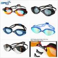 ücretsiz yüzme gözlükleri toptan satış-Toptan-Copozz Profesyonel Anti-Fog UV Koruma Yüzme Gözlükler Unisex su geçirmez Silikon Gözlük Yetişkin Gözlük Ayarlanabilir Ücretsiz