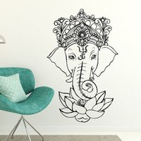 elefanten entfernbare wandtattoos groihandel-Elefant Buddha Yoga-Mandala Lotus-Blumen-Wand-Aufkleber Ganesha Vinylwand-Abziehbild-Hauptdekor Wohnzimmer Removable Mural E502 Y200103