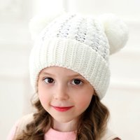 Wholesale kids fur pompom hats resale online - Kids Winter Beanie Hats Children Knitted Hat With Double Fur Ball Baby Crochet Pompom Caps Outdoor Warm Cap styles GGA2627